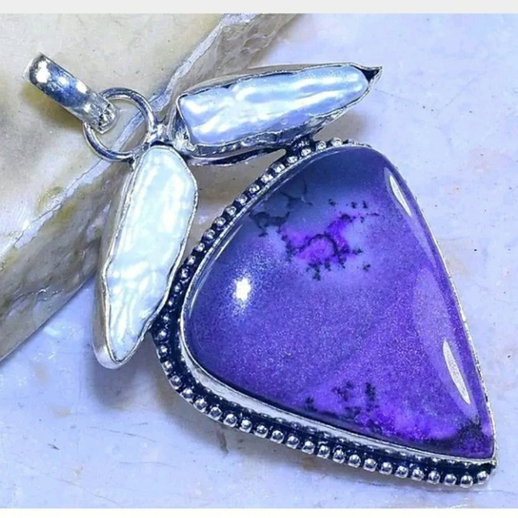 39620c47675b Handmade Jewelry | Dyed Dendritic Opal Biwa Pearl 925 Pendant | Poshmark